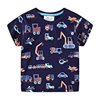 Summer Boys T Shirt Fashion Cotton Half Short Sleeve Round Neck Printed Kids Tee (Car,3 Years)