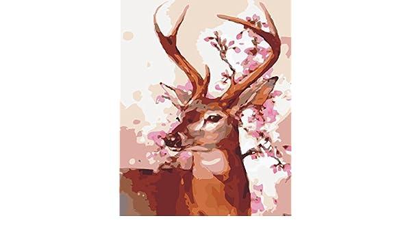 Paint By Numbers kit pitture animali per Adulti Bambini Anziani Junior Pittura ad olio DIY su tela con telaio in legno Cervo
