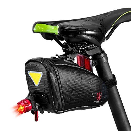Satteltasche Fahrrad mit Rücklicht , Fahrradtasche Satteltaschen Wasserdicht Fahrrad Sattel Tasche mit Abriebfest, Velcro-Design, reflektierend, für Mountainbike, Rennrad und MTB und so weiter