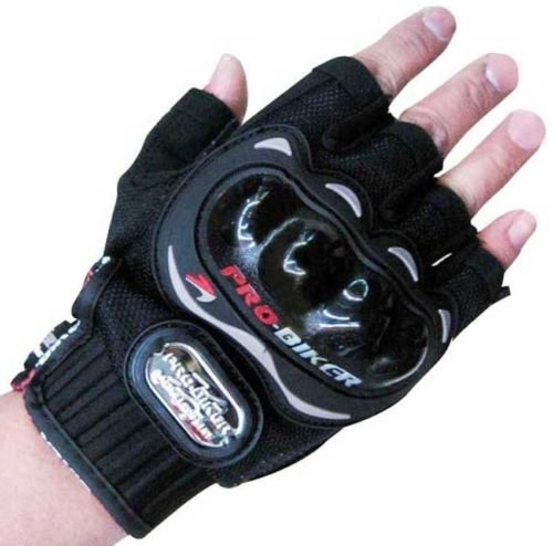 Motoway Pro Biker Half Cut Racing Biking Driving Motorcycle Gloves Black L