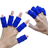 sumifun 10Stück Finger Ärmel Displayschutzfolie Elastic Finger Unterstützung Bandage Daumen Grip Tape für Basketball, Tennis, Bootfahren, Fischen,, Volleyball, Badminton (blau)