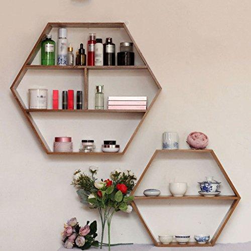 SUBBYE Retro Massivholz Kreativ Hexagon Wandregal Woody Wand-Tee Set Storage Grid Farbe Optional (...