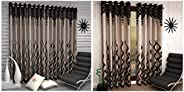 Home Sizzler 2 Piece Eyelet Polyester Window Curtain - 5ft, Brown & 4 Piece Eyelet Polyester Window Curtai