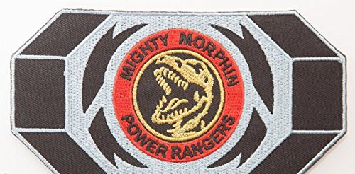 Power Rangers Embroidered Iron on Patch/rot Ranger Morpher Gürtelschnalle Badge Aufnäher Tyrannosaurus Rex Kostüm Fancy Kleid Motiv (Kostüm Rangers Power Yellow Mighty Ranger Morphin)
