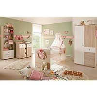Preisvergleich für Vaja Babyzimmer Kinderzimmer 4-tlg. mit Schrank Wickeltisch Babybett Regal