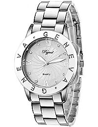 Ladies Geneva Quartz Watch - Fashion Women Bling Crystal Analog Wristwatch / Unisex Stainless Steel Wrist Watch - Silver