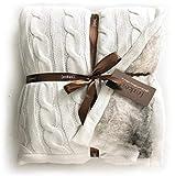 Eikei Sherpa Übergroßer Überwurf Wendedecke mit Schaffell-Innenfutter aus Kuscheliger Baumwollmischung in Grau Weiß oder Türkis Blau Traditionell 50Wx70L White Chinchilla