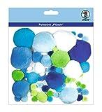 Ursus 39500004 - Pompons Plüsch Mix, 60 Stück, blau/grün
