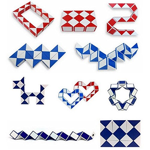 CC*CD Magic Snake Shape Game 3D Cube Puzzle Twist Puzzle Gift 4*4cm (Random Color)