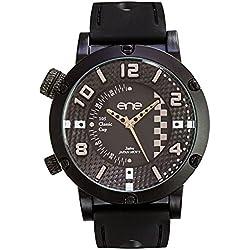 eneWatch Herrenuhr Modell 105 Cup, schwarz/schwarz, 51mm, Silikonband UE78106