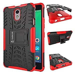 TARKAN Hard Armor Hybrid Rubber Bumper Flip Stand Rugged Back Case Cover for Lenovo Vibe P1m (Red)
