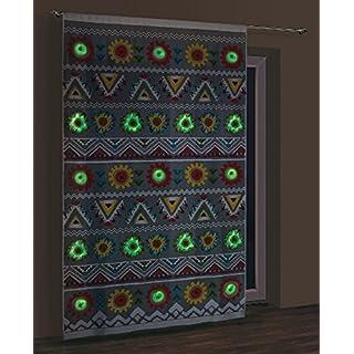 M-Decor Glow in The Dark (Fluoro nur) Net Vorhang Panel, Aztec, fertig zum Aufhängen Größe: 150x 250cm (149,9x 248,9cm), Polyester, Fluoro, Size: Width 150x Length 250cm (59