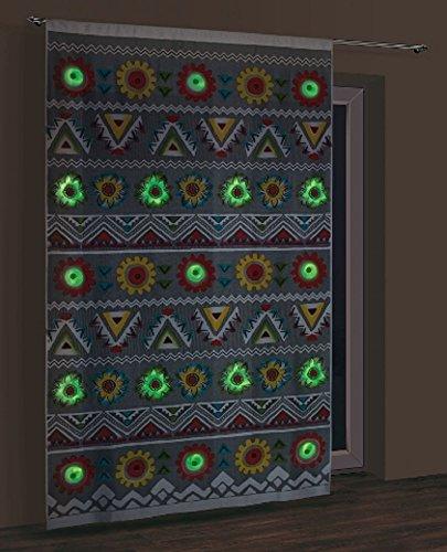 Glow in the Dark (Fluoro nur) Net Vorhang Panel, Aztec, fertig zum Aufhängen Größe: 150x 250cm (149,9x 248,9cm), Polyester, Fluoro, Size: width 150x length 250cm (59