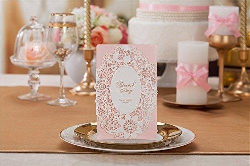 10x laser Cut Romantic rosa Lace wedding Invitation Cards, comprende corrispondenza avvolgere, senza inserto carta e sigillo