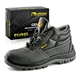 Mens Steel Toe Cap Boots Trainers - M8010 Water Resistant Wide Fit Working Steel Toe Capped Shoes for Man and Womens Size