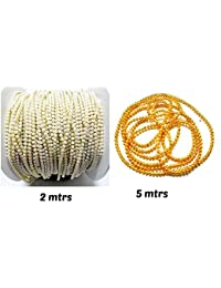 Goelx Pearl Chain(2 MTR) & Golden Ball Chain Combo(5 MTR) Combo For Jewellery Making/designing/craftworks