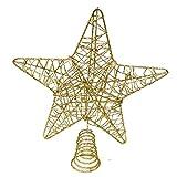 BELLE VOUS Decoracion Arbol Navidad - Adornos Árbol Navidad Coronar Arbol - Estrella Navidad 5 Puntas Dorado Metálico 20cm - Adorno de Navidad Elegante y Brillante...