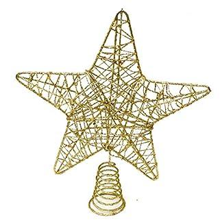 BELLE VOUS Decoracion Arbol Navidad – Adornos Árbol Navidad Coronar Arbol – Estrella Navidad 5 Puntas Dorado Metálico 20cm – Adorno de Navidad Elegante y Brillante Decoración Fiesta Navidad Hogar