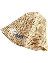 Honey Fiori Caps Cappello di Paglia delle Donne Mano all-Uncinetto Ricamo  Cappello Pescatore Pieghevole d999eaba6252
