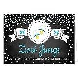Große XXL Design Geburtskarte zur Geburt/Zwillinge / Klappkarte/mit Umschlag / A4 / Zwei Jungs Blau Schnuller/Baby geboren/Grußkarte zur Gratulation Eltern