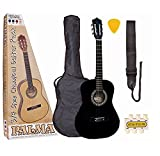 Palma PL34BLOFT - Set de guitarra de concierto de 3/4 (funda, correa, púas, afinador de silbato y DVD para principiantes en inglés), color negro