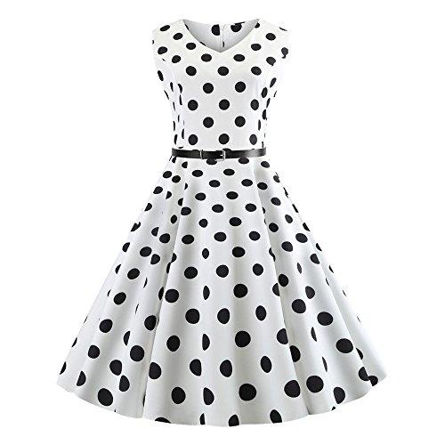 50S Hepburn Vestidos Vintage,Mujeres 1950S Retro CinturóN Rockabilly CláSico Verano Dress For Garden Party Cocktail, Picnic Dress Retro Cocktail Dress with Sleeveless S Size 2XL Naturazy