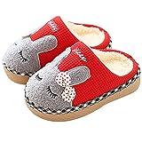 SITAILE Jungen Mädchen Winter Pantoffeln Slippers Schuhe mit Plüsch gefüttert Wärme Weiche Rutschfeste Hausschuhe Für Kinder Baby 01-rot 22-23