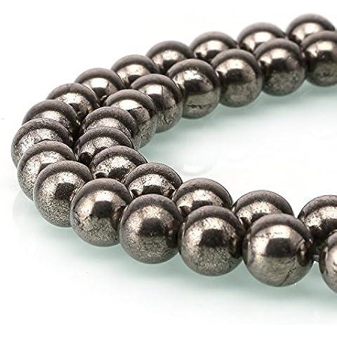 jennysun2010Natural Gemstone suave redonda suelta cuentas 4mm 6mm 8mm 10mm 12mm 1Strand por bolsa para pulsera collar y pendientes joyas Manualidades Diseño Curación, Pyrite, 12 mm
