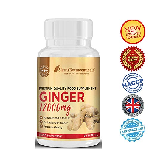 Premium Ginger Supplement 12000mg for Digestive Health. Helps to Relieve from symptoms of Nausea and Upset Stomach. Anti-inflammatory Support. Support healthy Joints and Overall Immunity Booster.