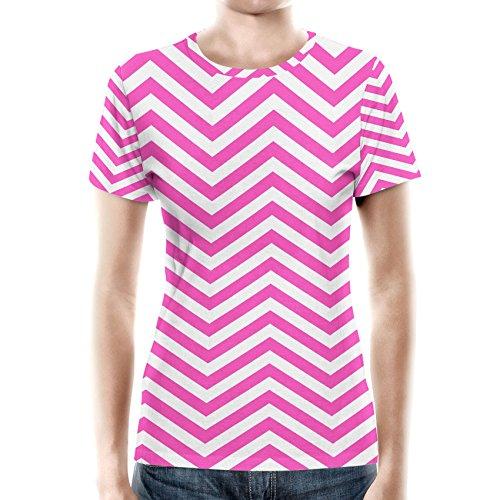 Queen of Cases Chevron Stripes Hot Pink - 2XL - Women Sport Mesh T-Shirt Damen