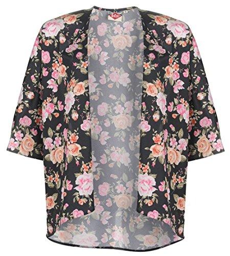 Leichte Damen Batwing Sleeves gedruckt Kimono Rosen