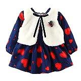 Zarupeng Neugeborenes Baby Mädchen Langarm Prinzessin Kleid Party Festlich Babydoll Kleid + Warme Ärmellos Weste Outfits Babykleidung Set
