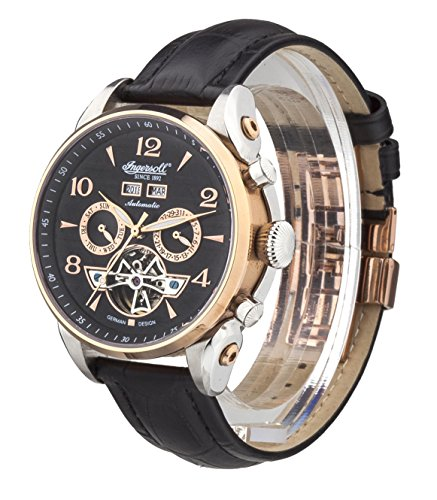 Ingersoll Automatic Men's Automatic Watch with Black Dial Chronograph Display and Black Leather Strap IN4514RBK