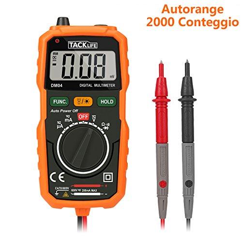 Tacklife DM04 Mini Multimetro Digitale Portabile Multi Tester Professionale Auto-Range