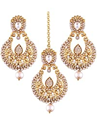 I Jewels Gold Plated Pearl Earring Set With Maang Tikka For Women (TE2341W)