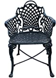 #8: Karara Mujassme Victorian Style Antique Black Garden Outdoor Cast Aluminium Chair