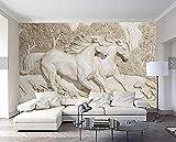 Murali bianchi in rilievo su ordinazione della carta da parati 3D per la parete del fondo del sofà TV del salone decorativa carta da parati fotomurali murale vintage-250cm×170cm