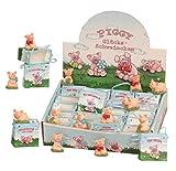 24 Stück Glücksschweine Schweine im Display mit Viel Glück Tüte Piggy