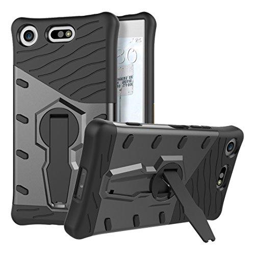 Rosa Schleife Sony Xperia XZ1 2 in 1 Hybrid Hülle Stoßfest Armor Schutzhülle Outdoor Case Cover mit 360 Grad drehbare Halterung Schwarz