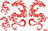 Drachen Skelett rot Sticker Aufkleber Folie 1 Blatt 270 mm x 180 mm wetterfest