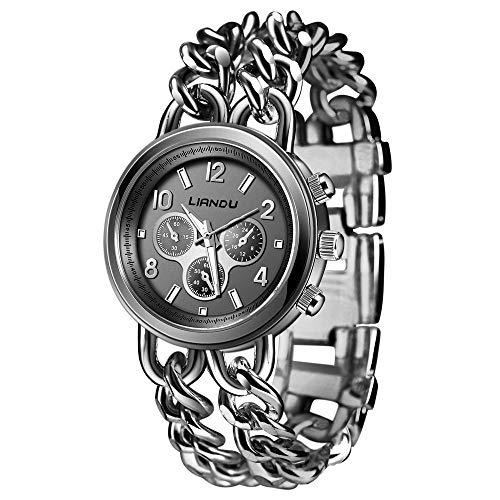 Voberry Crystal Bracelet Lady Fashion Stainless Steel Analog Quartz Wrist Watch Black