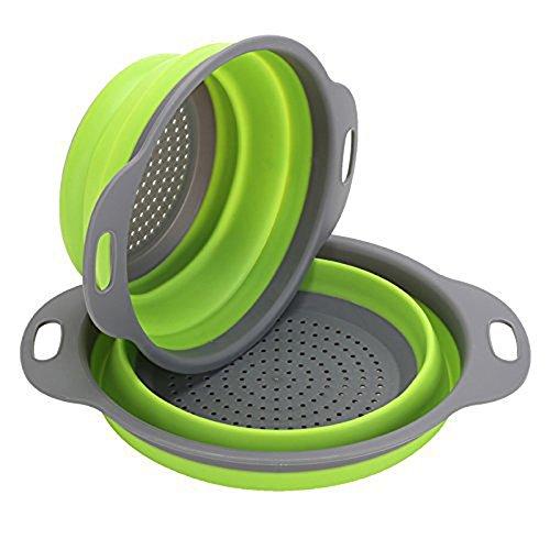 Ofen-filter 20x24x2 (GCBTECH Faltbarer Seiher, 2 Stück Silikon Sieb Faltbare Abtropfsieb Küche Ordnung, Silikon Nudelsieb Faltbar Silikon Filter Gemüse Frucht Korb Für Küche und Camping (Grün))