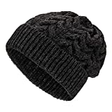 Weiche Damen Alpaka Mütze aus 100% Alpaka Wolle in 6 Farben - Hochwertige Winter Strickmütze/Beanie Wollmütze von HansaFarm, Anthrazit - NFA14, Einheitsgröße