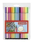 Premium-Filzstift - STABILO Pen 68-15er Pack - mit 15 verschiedenen Farben inklusive 5 Neonfarben