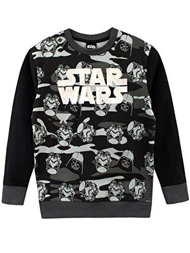Star Wars Jungen Darth Vader und Stormtroopers Sweatshirt Schwarz 146