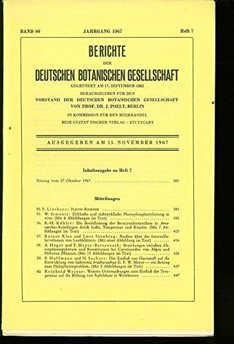 Zyklische und nichtzyklische Photophosphorylierung in vivo, in: BERICHTE DER DEUTSCHEN BOTANISCHEN GESELLSCHAFT, Heft 7 / 1967.