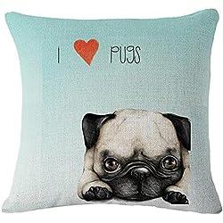 """Familia mascotas vida es mejor con un perro carlino manta funda de almohada cojín funda algodón lino Material decorativo 18""""cuadrado"""