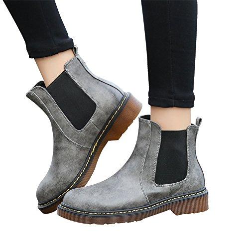 Smilun Damen Chelsea Stiefelette Kurzschaft Stiefel Grau