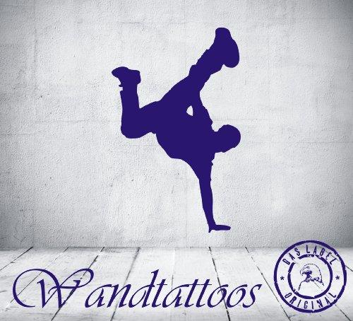 """das-label Wandtattoo Tanzen """"streetdance 8"""" in 4 Größen Hip Hop Breakdance Kinderzimmer Tattoo, Indoor schwarz, Größe L"""