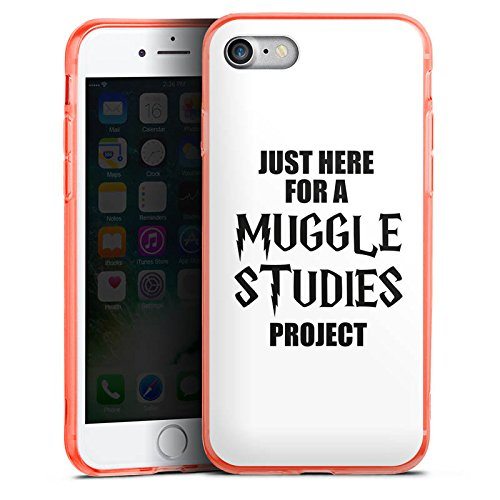 Apple iPhone 8 Silikon Hülle Case Schutzhülle Harry Potter Spruch Muggle Silikon Colour Case neon-orange
